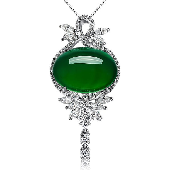 Natural Green Jade Pendant 925 Silver Necklace Jadeite Chalcedony Amulet Fashion Charm Jewelry Gifts for Women Her