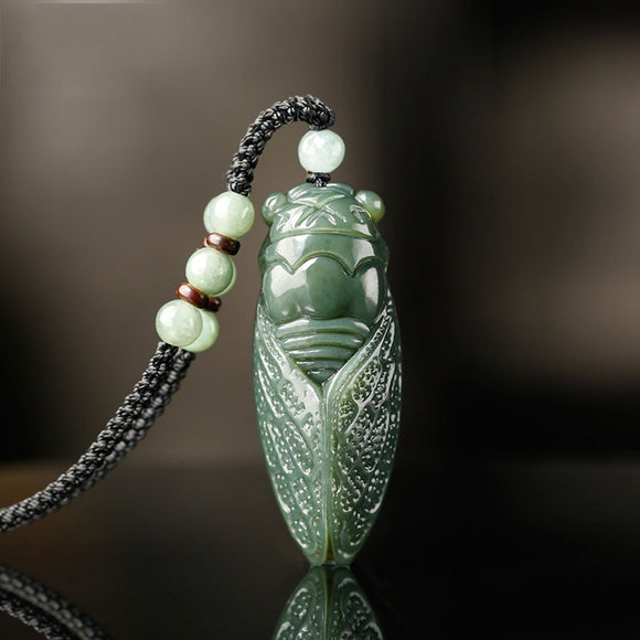 Natural Hetian Jade Cicada Pendant Beads Necklace Charm Jewellery Fashion Accessories Hand-Carved man and woman Amulet Gifts