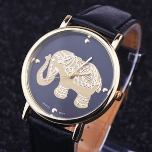 Watch Women Top brand luxury Fashion Casual quartz watches Lady relojes mujer women montre Girl Dress clock Elephant Print - Lucky Mouse Chinese Gifts