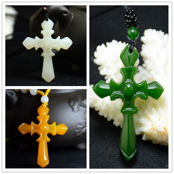 Chinese green Jade Cross Pendant Necklace Jewellery Fashion Hand-Carved Relax Healing Man Women Luck Gifts Amulet Free Rope