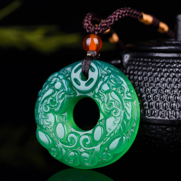 Real chalcedony white green pendant necklace handcarved brave troops jade pendants necklaces for men women jade jewelry