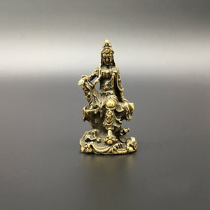 Collection Chinese Brass Carved Guan Yin Kwan-yin Bodhisattva Buddha Statue Exquisite Small Statues