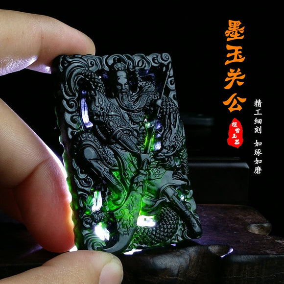 100%  real hetian hollow handcarved black jade pendant necklaces pendants brand men women real jade jewelry add certificate