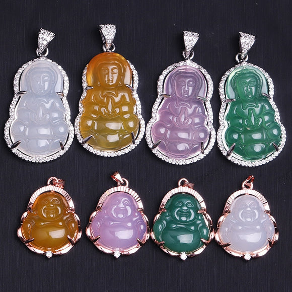 925 Silver Inlaid Natural Agate  Guanyin Buddha Pendant Necklace Jewellery Fashion Accessories Hand-Carved Woman Luck Amulet