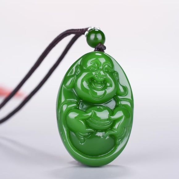 Chinese Green Jade Buddhism Pendant Necklace Charm Jewellery Fashion Accessories Hand-Carved Man Woman Luck Amulet Sweater Chain
