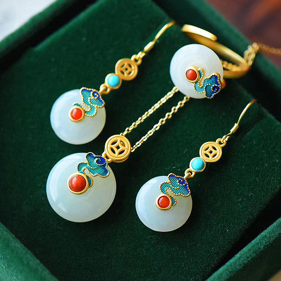 Vintage multicolor enamel jade gemstones drop earrings rings pendant necklaces for women jewelry bijoux party accessories gifts