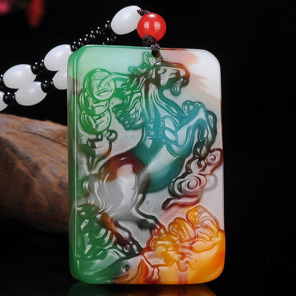 Natural Color Chinese Jade Horse Pendant Beads Necklace Fashion Charm Jadeite Jewelry Carved Amulet Gifts for Women Men