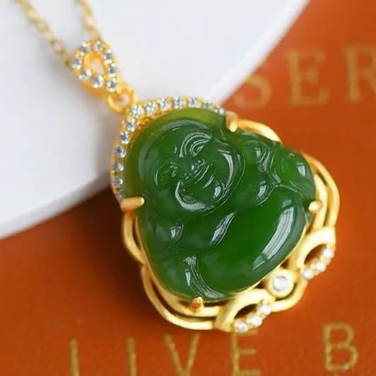 Natural Hetian jade smile Buddha Pendant Necklace Chinese style retro elegant traditional unique ancient gold craft jewelry