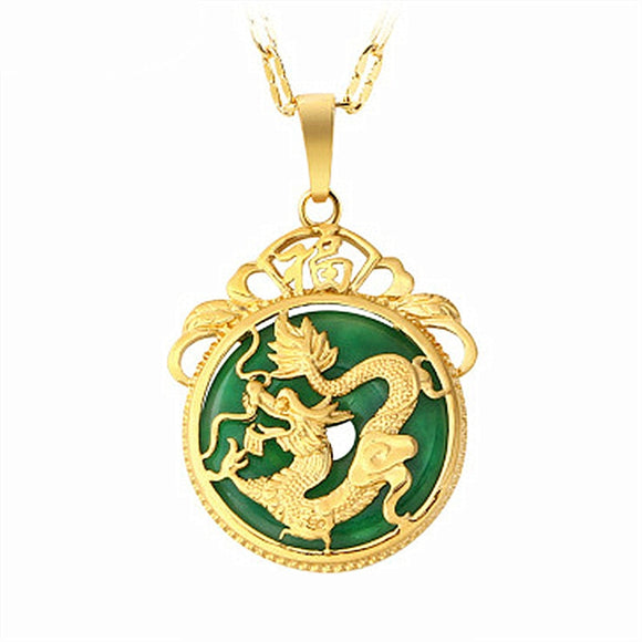 24K GOLD NECKLACE EMERALD INLAID DRAGON PENDANT  JEWELLERY FASHION HAND-CARVED RELAX HEALING MAN WOMEN LUCK GIFTS AMULET