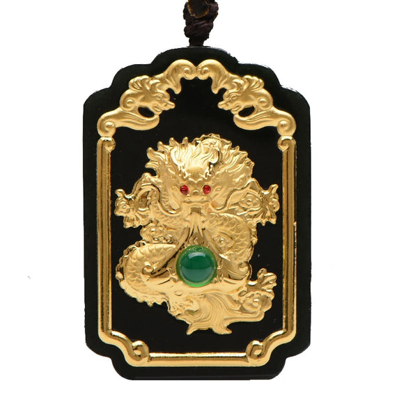Koraba Fine Jewelry 24K Gold Chinese Dark Green Jade Dragon  Pendant Rope Necklace Mens Jewelry Luxury Jewelry