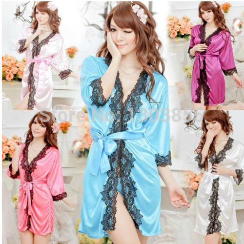 New Sexy SILK & LACE Kimono Dressing Gown Bath Robe Babydoll Lingerie+G-string - Lucky Mouse Chinese Gifts