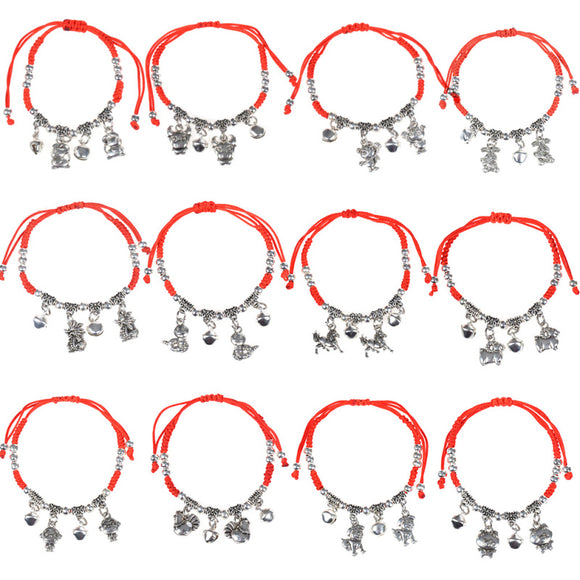 Lychee 1 piece Chinese Style Chinese Zodiac Signs Pendant Red String Bracelet Feng Shui Good Luck Jewelry - Lucky Mouse Chinese Gifts