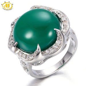 Hutang Genuine Green Jade Cabochon Cut Solid 925 Sterling Silver Ring Round 16mm Gemstone Women's Vintage Fine Jewelry 11.11 - Lucky Mouse Chinese Gifts