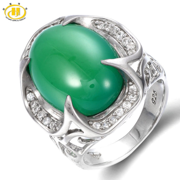 Hutang Genuine Green Jade Cabochon Cut Solid 925 Sterling Silver Ring For Women's Gemstone Vintage Fine Jewelry Xmas Gift 11.11 - Lucky Mouse Chinese Gifts