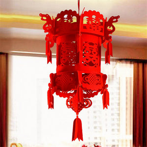 New Year Lucky Auspicious Red Double Happiness Chinese Knot Tassel Hanging Lantern Rooftop Wedding Room Decoration free ship - Lucky Mouse Chinese Gifts