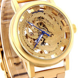 Unique Phoenix Unisex Dragon Pattern Cut-out Hand Wind Analog Transparent Mechanical Watches Men's Strap Gold Wristwatches - Lucky Mouse Chinese Gifts