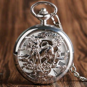Retro Silver Skeleton Dragon Design Pocket Watch Chain Men Chinese Style Mechanical Hand-winding watches men women unisex P2007C - Lucky Mouse Chinese Gifts