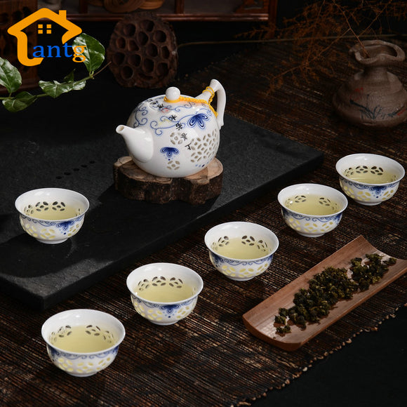 New Arrivals Exquisite Tea Service,Drinkware 7pcs Bone China Tea Set Ceramic KungFu Teapots & Cups ,Black Tea Ware High Quality - Lucky Mouse Chinese Gifts