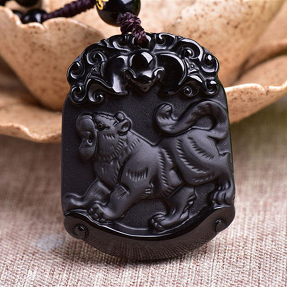 Natural Black Obsidian Pendant Carved Chinese Zodiac Animal Tiger Pendant Bead Necklace Lucky Amulet Men Women's Jewelry - Lucky Mouse Chinese Gifts