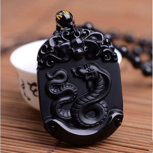 Natural Black Obsidian Pendant Carved Chinese Zodiac Snake Pendant Bead Necklace Lucky Amulet Men Women's Fashion Jades  Jewelry - Lucky Mouse Chinese Gifts