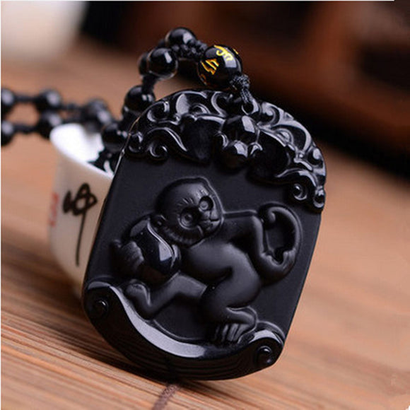 Natural Black Obsidian Pendant Carved Chinese Zodiac Smart Monkey Pendant Bead Necklace Lucky Amulet Men Women's Jewelry - Lucky Mouse Chinese Gifts