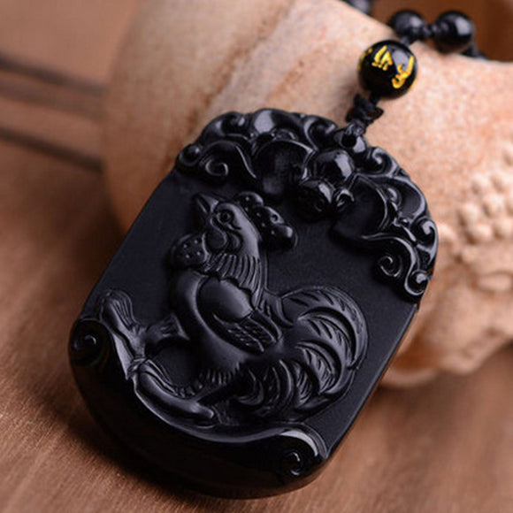 Natural Black Obsidian Pendant Carved Chinese Zodiac Cock Pendant Bead Necklace Lucky Amulet Men Women's Fashion  Jades Jewelry - Lucky Mouse Chinese Gifts