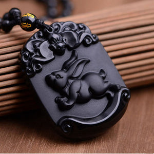 Natural Black Obsidian Pendant Carved Chinese Zodiac Lovely rabbit Pendant Bead Necklace Lucky Amulet Men Women's Jewelry - Lucky Mouse Chinese Gifts