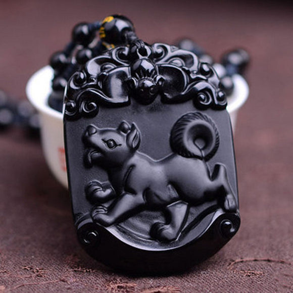 Natural Black Obsidian Pendant Carved Chinese Mascot Zodiac Dog Pendant Bead Necklace Lucky Amulet Men Women's Jewelry - Lucky Mouse Chinese Gifts