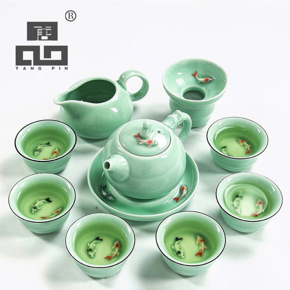 TANGPIN longquan celadon fish tea set ceramic teapot kettle ceramic tea cup fish chinese kung fu tea set drinkware - Lucky Mouse Chinese Gifts