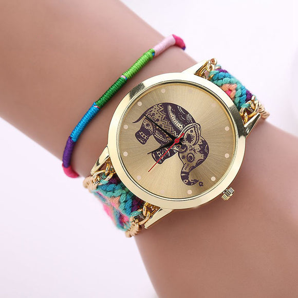 Watch Women Watches Braided Elephant watch Reloj Mujer Bracelet Dress Clock Girl Quarzt watches Relogio - Lucky Mouse Chinese Gifts