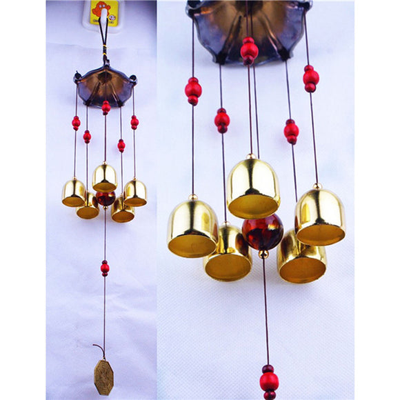 Large 5 Bells Copper Wind Chimes Antirust Bell Outdoor Decorations Lucky Metal Pagoda Best Wishes Home Decoration Windchime