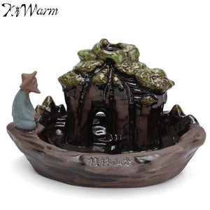 KiWarm Ceramic Art Backflow Incense Burner China Guilin Miniatures Landscape Figurines Censer Home Office Furnace Decor Gift - Lucky Mouse Chinese Gifts