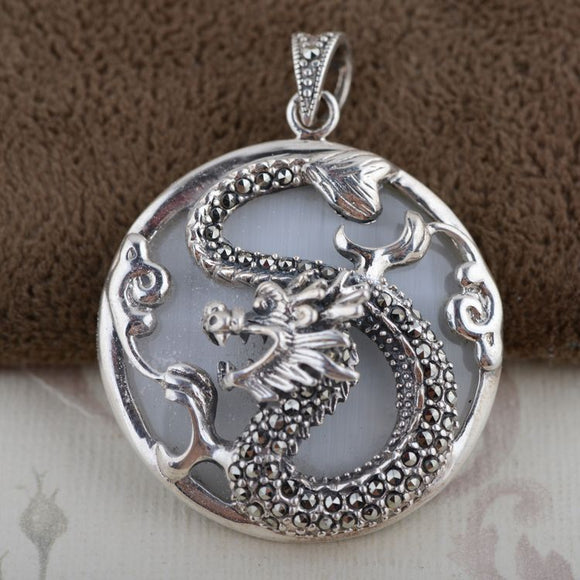 Thai Silver Pendant Silver Inlaid Opal Hang Archaize Style Chinese Zodiac Dragon - Lucky Mouse Chinese Gifts