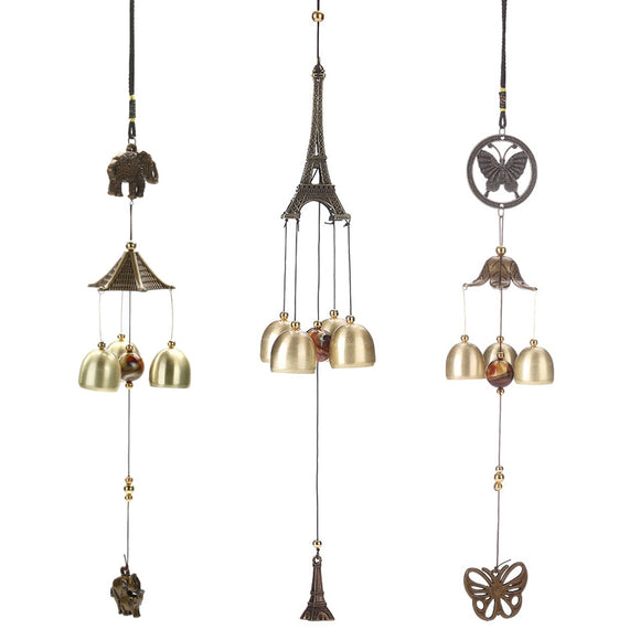 Hanging Wind Chime Bell Chinese Oriental Lucky Metal Pagoda Feng Shui Brass Buddha Elephant Spitor Fortune Lijiang Style 3 Bells - Lucky Mouse Chinese Gifts