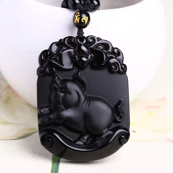 Natural Black Obsidian Pendant Carved Pig Chinese Zodiac Patron Saint Buddha Pendants Lucky Pendants Necklace Amulet Jewelry - Lucky Mouse Chinese Gifts