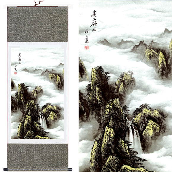 Large Wall Art Abstract Painting Mountains Painting Natural Landscape Style Home Decor Picture Traditional Chinese Silk Scroll