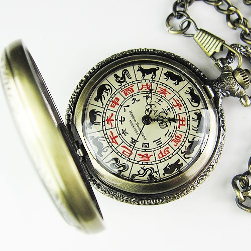 Rare Antique Chinese Zodiac Dail Mechanial Pocket Watch - Lucky Mouse Chinese Gifts