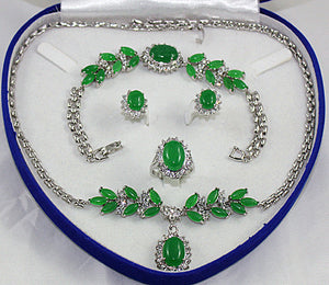 Noble Bridal wedding Jewelry Silver plated green Jades Tiger eye stone Turquoises Jewelry Set - Lucky Mouse Chinese Gifts