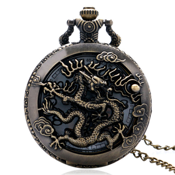 Vintage Bronze Cool Dragon Quartz Movement Pocket Watch Necklace Chain Men Boy Fob Watches Fashion Clock Gift Free Shipping - Lucky Mouse Chinese Gifts