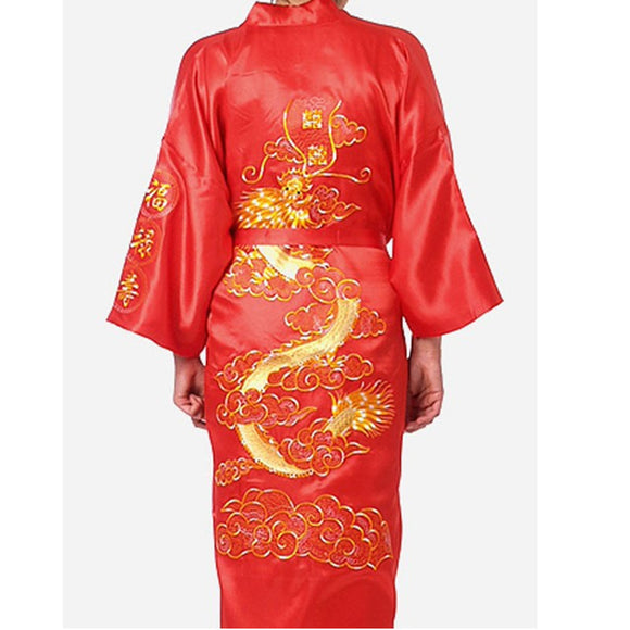 Plus Size Chinese Embroidery Dragon Robes Traditional  Sleepwear Nightwear Kimono With Bandage - Lucky Mouse Chinese Gifts