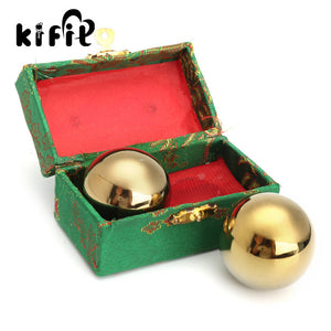 KIFIT 2Pcs Metal Exercise Hand Wrist Solid Gold Tone Baoding Ball s Chinese Health Exercise Therapy Stress Massager Balls 42mm - Lucky Mouse Chinese Gifts