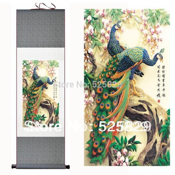 Hot Sale High Quality Wall Art Home Decoration Framed Peacock Picture Traditional Chinese Painting of Silk Scroll Drop Shipping - Lucky Mouse Chinese Gifts