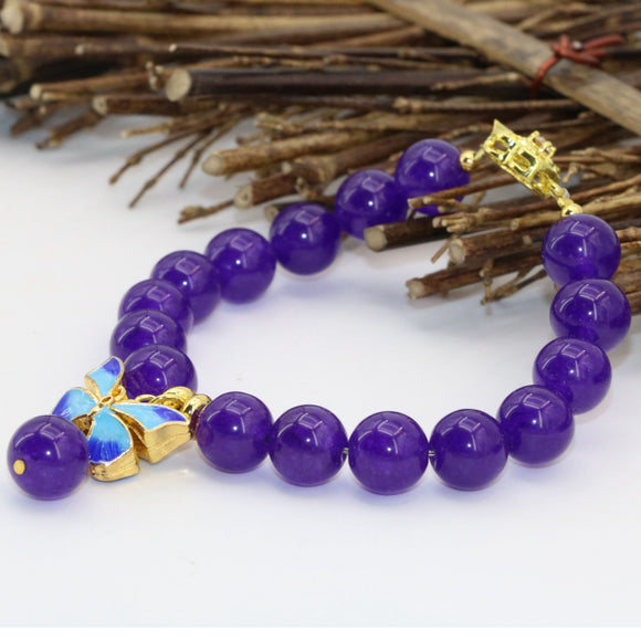 Gold-color cloisonne 10mm fashion purple natural stone chalcedony jades round beads bracelet diy bangle jewelry 7.5inch B2722