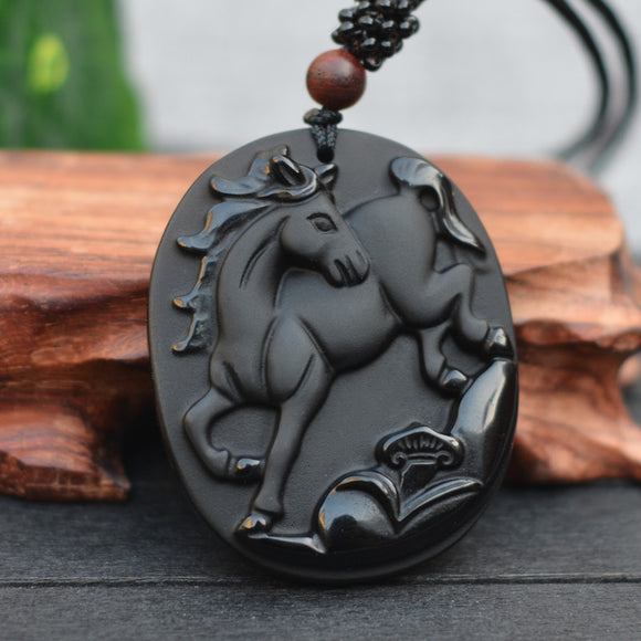 Natural Black Obsidian Stone Carving Chinese Zodiac Horse Lucky Amulet Pendant Necklace For  men's fashion Jewelry - Lucky Mouse Chinese Gifts