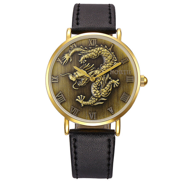 North Fashion Men Quartz Wrist Watch Leather Band Watch - Lucky Mouse Chinese Gifts