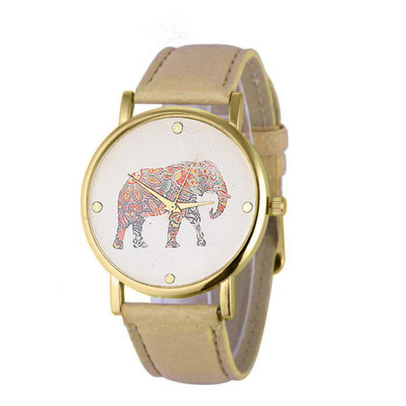 New Women Elephant Printing Pattern Weaved Leather Quartz Dial Watch - Lucky Mouse Chinese Gifts