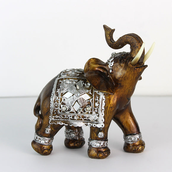 Q-glory Elephant Figurines Decorative Brown Elephant Resin Garden Figures Home Decoration Accessories Lucky Elephant Statues - Lucky Mouse Chinese Gifts
