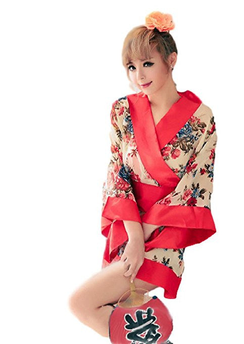 Women Short Kimono Robe Apricot Flowers Patterned Japanese Traditional Style Gown Sauna Robe for Night Club - Lucky Mouse Chinese Gifts