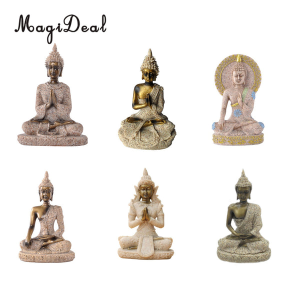 MagiDeal The Hue Sandstone Meditation Buddha Statue Sculpture Hand Carved Figurine Home Office Decor