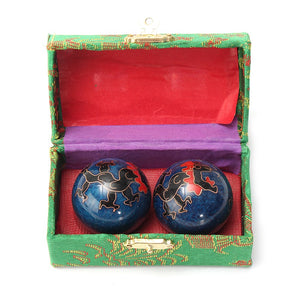 New 2Pcs Chinese Cloisonne Exercise Stress Ball Hand Wrist Solid Chrome Baoding Ball Health Therapy Massage Ball Gemstone Gift - Lucky Mouse Chinese Gifts